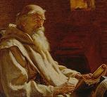 Bede finishing his translation of John's Gospel. From a picture owned by Bible Society